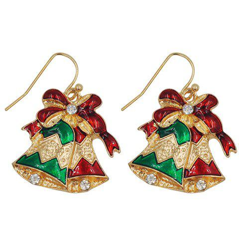 Pair of Charming Rhinestone Bell Shape Christmas Earrings Jewelry For Women - RED