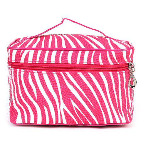Stylish Stripe and Zip Design Women's Cosmetic Bag - ROSE