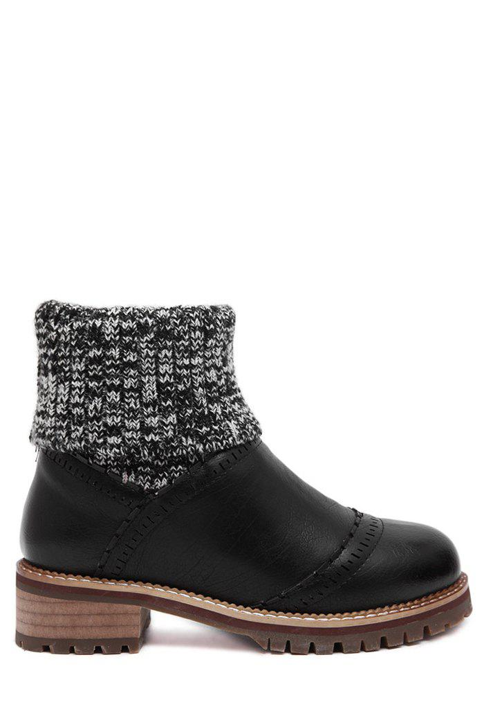Trendy Splicing and Engraving Design Women's Sweater Boots - BLACK 38