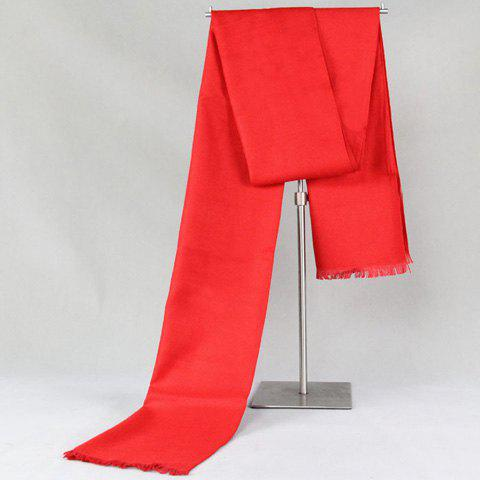 Stylish Fringed Edge Simple Red Warmth Scarf For Men