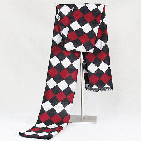 Stylish Rhombus Plaid Pattern Fringed Edge Warmth Scarf For Men - RED
