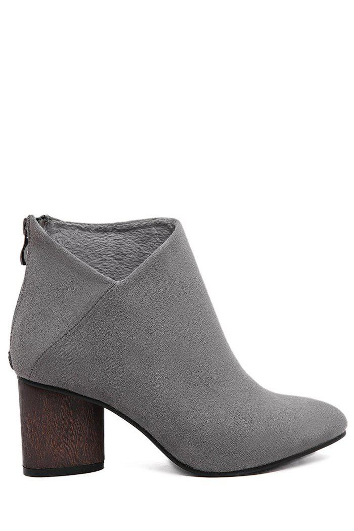 Simple Style Suede and Pointed Toe Design Women's Ankle Boots - GRAY 39