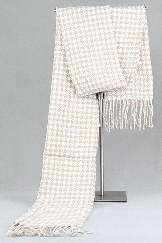 Stylish Light Color Houndstooth Pattern Tassel Warmth Scarf For Men - WHITE