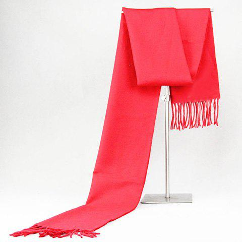 Stylish Tassel Simple Red Men's Warmth Scarf - RED