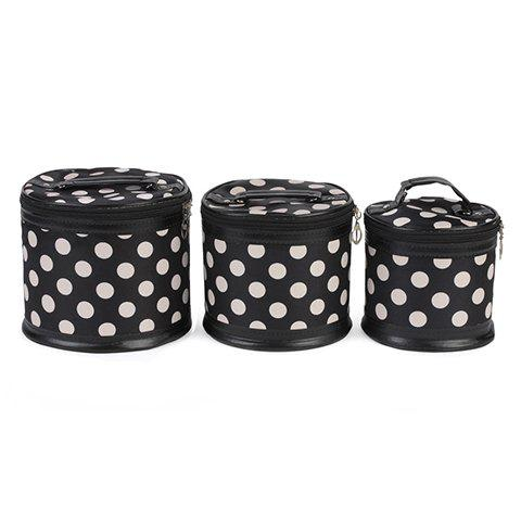 Trendy Zipper and Dots Design Women's Cosmetic Bag - WHITE/BLACK