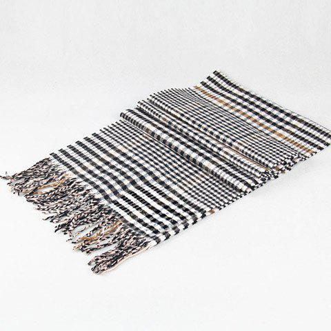 Stylish Houndstooth and Plaid Pattern Tassel Warmth Scarf For Men - BLACK