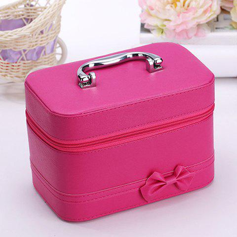 Sweet Solid Color and Bowknot Design Women's Cosmetic Bag - ROSE