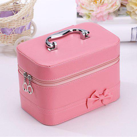 Sweet Solid Color and Bowknot Design Women's Cosmetic Bag - PINK