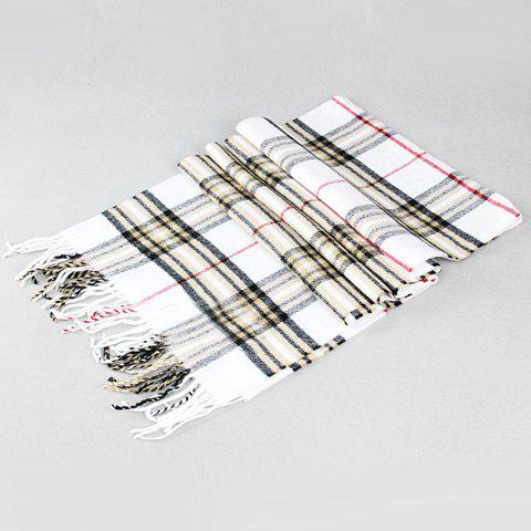 Stylish Simple Plaid Pattern Tassel Men's Scarf - WHITE