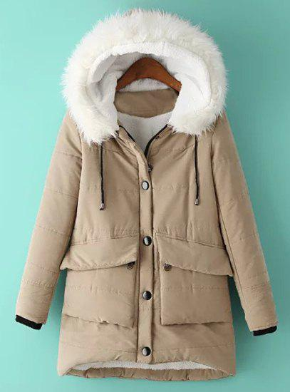 Trendy Hooded Long Sleeve Asymmetrical Pocket Design Women's Coat - KHAKI M