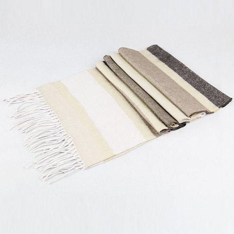 Stylish Various Color Stripe Pattern Tassel Scarf For Men - GRAY