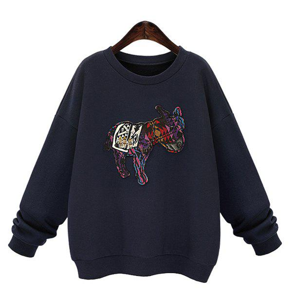 Casual Women's Round Collar Long Sleeves Applique Sweatshirt - DEEP BLUE L