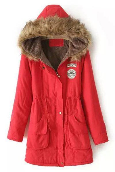 Long Sleeve Fur Collar Hooded Lace-Up Coat For Women - RED XS