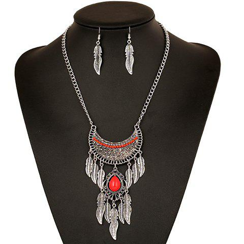 A Suit of Ethnic Faux Gem Metal Leaf Tassel Necklace and Earrings For Women - RED