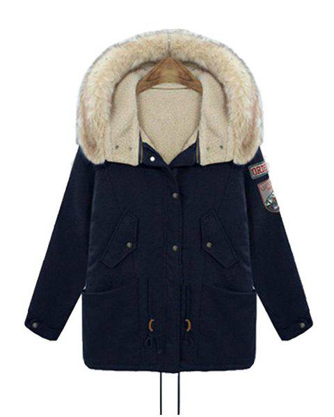 Casual Applique Hooded Long Sleeve Padded Coat For Women - DEEP BLUE XL