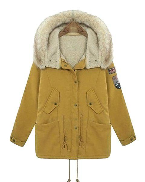 Casual Applique Hooded Long Sleeve Padded Coat For Women - YELLOW 4XL