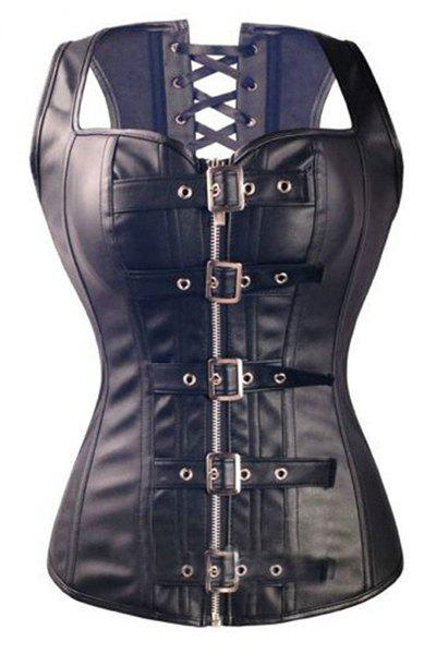 Vintage Black PU Leather Pin Buckle Lace-Up Corset For Women