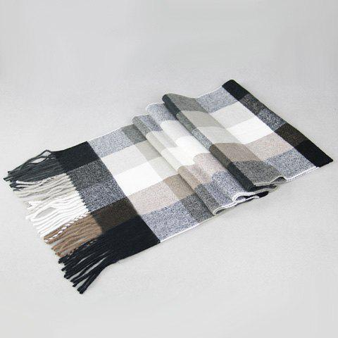 Stylish Tartan Pattern Tassel Casual Scarf For Men - LIGHT GRAY