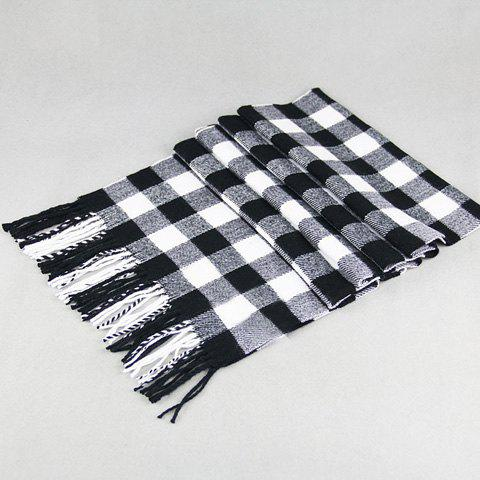 Stylish Classical Tartan Pattern Tassel Men's Scarf - BLACK