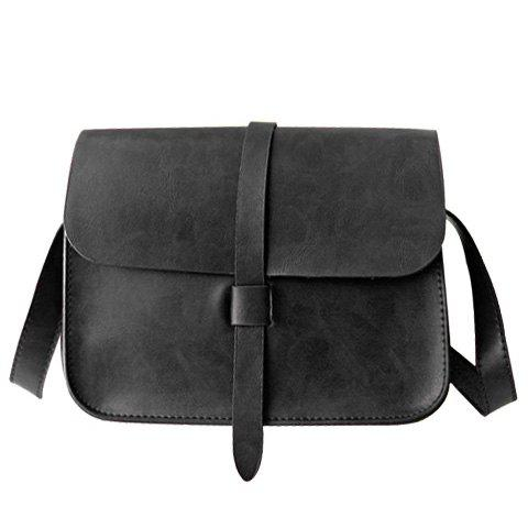Strap Crossbody Bag - BLACK