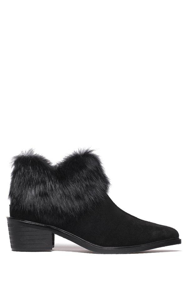 Stylish Pointed Toe and Faux Fur Design Women's Ankle Boots - BLACK 37