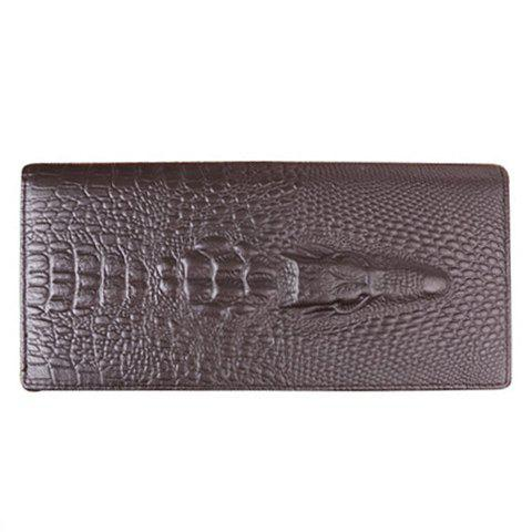 Stylish Crocodile Print and Solid Color Design Money Clip For Men - COFFEE