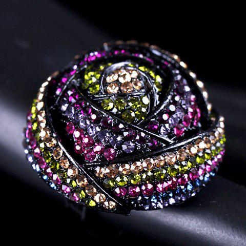 Rhinestone Embellished Rose Shape Ring - COLORMIX ONE-SIZE
