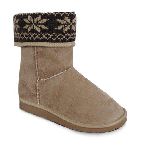 Stylish Knitting and Fold Over Design Snow Boots For Women - OFF WHITE 38