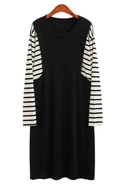 Casual rayé Spliced ​​Jewel cou à manches longues Plus Size Dress For Women - Noir 3XL