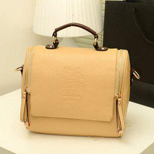 Vintage Crown and Zip Design Tote Bag For Women - KHAKI