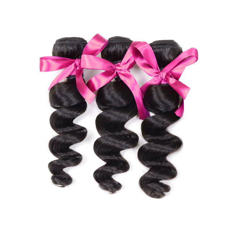 3pcs Virgin Hair Burmese Loose Wave Extension Human Hair Weave - BLACK 18INCH*20INCH*22INCH
