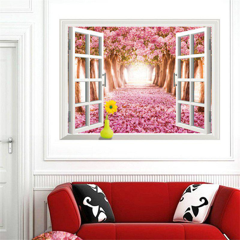 Beautiful 3D Cherry Tree Style Removable PVC Wall Stickers Colorful Room Window Decoration 3d horse rushing window living room decoration wall stickers