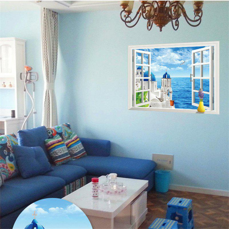 Beautiful 3D Love Sea Style Removable PVC Wall Stickers Colorful Room Window Decoration the key of love pendant pvc removable wall stickers