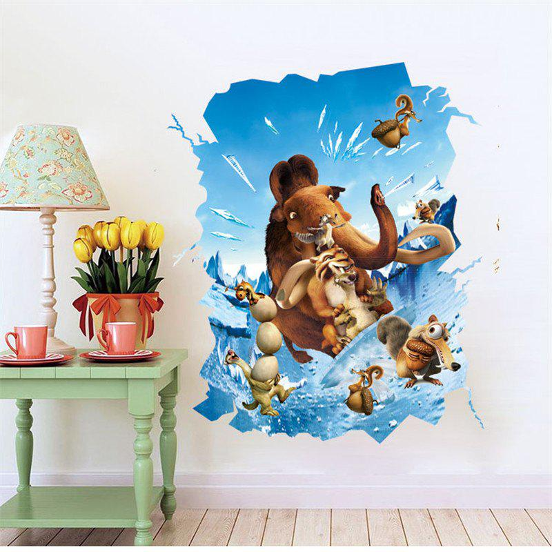 3D Animal Style Removable PVC Wall Stickers Colorful Room Window Decoration 3d horse rushing window living room decoration wall stickers