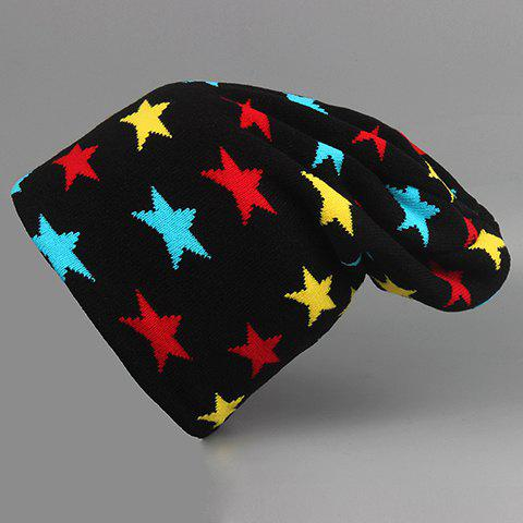 Stylish Colorful Five-Pointed Star Pattern Knitted Beanie For Men - BLACK