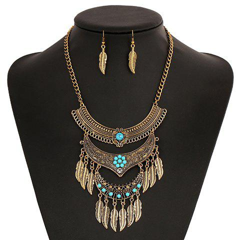 A Suit of Ethnic Metal Leaf Tassel Necklace and Earrings - GOLDEN