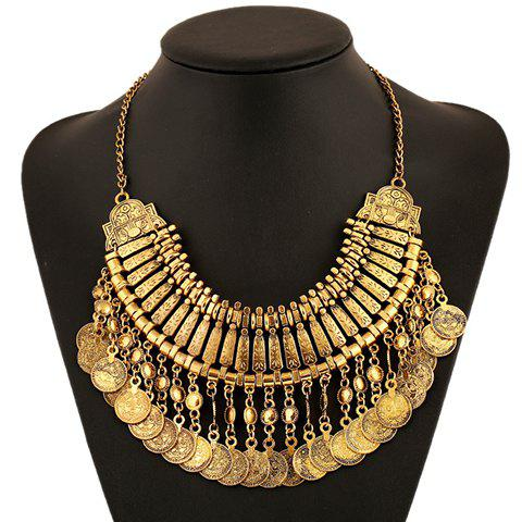 Ethnic Coin Fringed Pendant Necklace - GOLDEN
