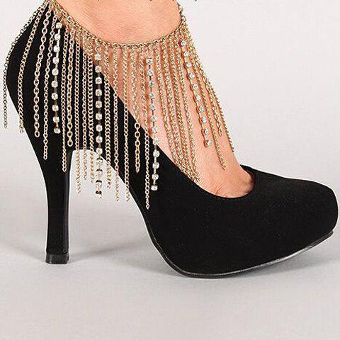 Multilayer Rhinestone Hang Claw Chain Boot Anklet - GOLDEN