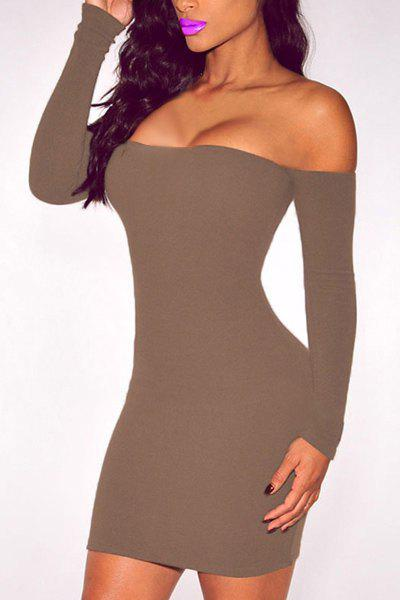 Stuning Off-The-Shoulder Long Sleeve Solid Color Bodycon Women's Dress - GRAY ONE SIZE(FIT SIZE XS TO M)