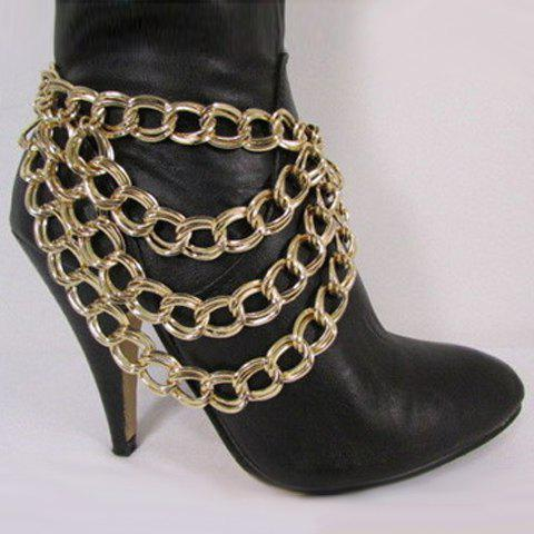 Stylish Pure Color Link-Chain Layered Women's Boot Jewelry - GOLDEN