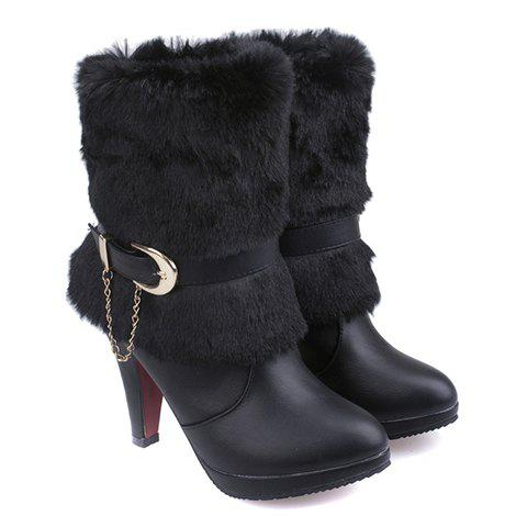 Stylish Pure Colour and Chain Design Women's Short Boots - BLACK 35