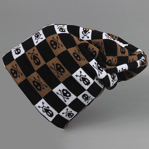 Stylish Skull and Checked Pattern Knitted Beanie For Men - BLACK
