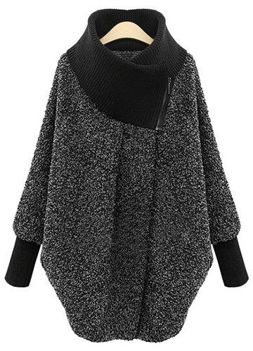 Splicing Long Sleeve Turtleneck Coat For Women - GRAY M