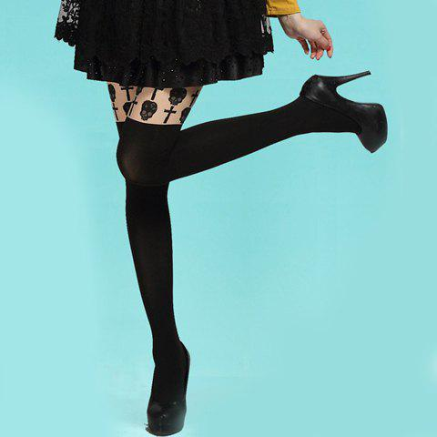 Chic Skull and Cross Pattern Breathable Pantyhose For WomenAccessories<br><br><br>Color: BLACK