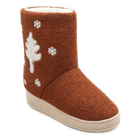Fashionable Snowflake and Christmas Tree Design Snow Boots For Women - BROWN M(38-39)
