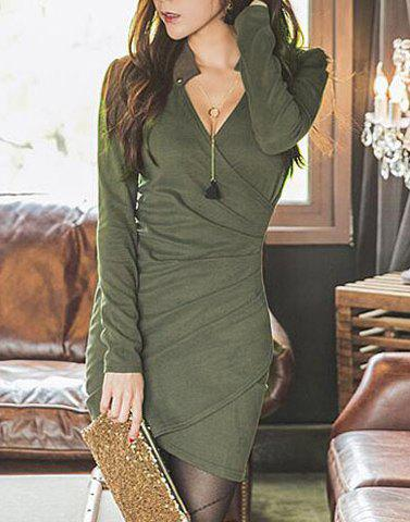 Trendy Women's V-Neck Long Sleeve Solid Color Wrap Dress - ARMY GREEN ONE SIZE(FIT SIZE XS TO M)