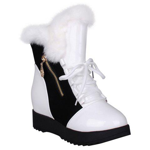 Stylish Zipper and Patent Leather Design Women's Short Boots - WHITE 38