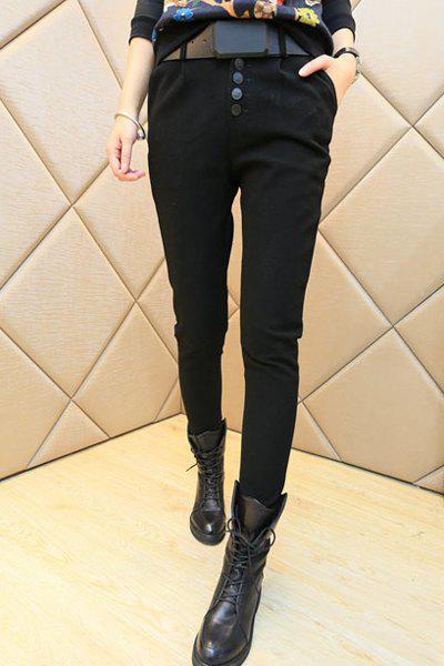 Button Design High Waist Pants For Women - BLACK M