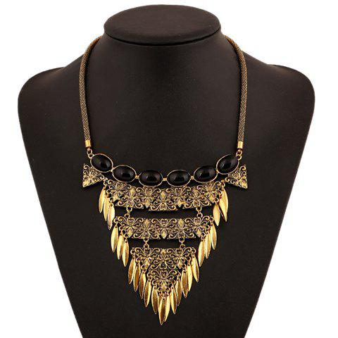 Ethnic Faux Crystal Flower Carved Leaf Tassel Necklace For Women - GOLDEN
