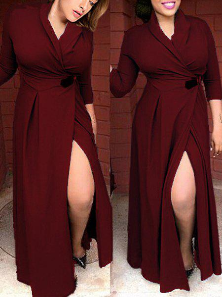 Sexy Shawl Neck 3/4 Sleeve High Slit Solid Color Women's Dress - WINE RED S